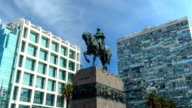 Time lapse in 'Plaza Independencia' ('Independence Square'), Montevideo downtown, Uruguay
