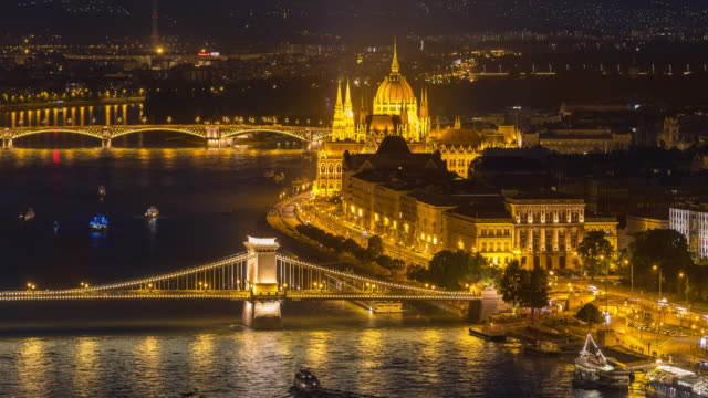 Time Lapse, Land and river traffic over Parliament Building, Budapest