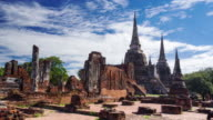 Time Lapse Landmark Old Temple in Ayutthaya