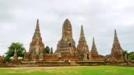 Time Lapse Landmark Old Temple wat Chaiwatthanaram of Ayutthaya Province