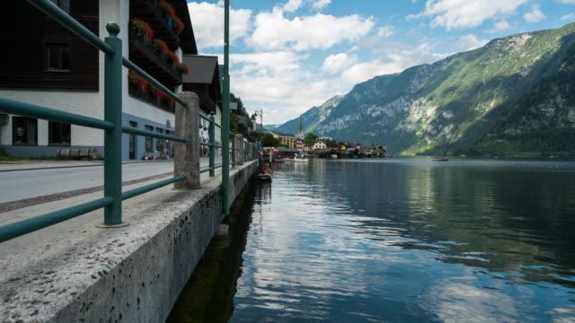 Time Lapse, Landscape and Crowd visiting at Hallstatt Village, Austria
