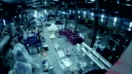 Time lapse manufacturing staff in production factory