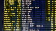 Time lapse medium shot departure board at international airport