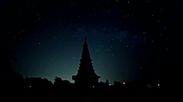 Time lapse Milky way on night sky with foreground  Pagodas.