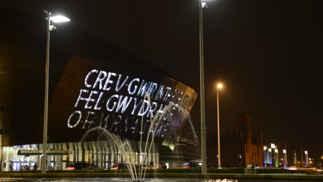 Time Lapse Millennium Centre in Cardiff on October 23 2013 Wales Millennium Centre is an arts centre located in the Cardiff Bay area of Cardiff Wales...
