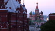 Time lapse Moscow State Historical Museum  at night with St. Basil's Cathedral in the background