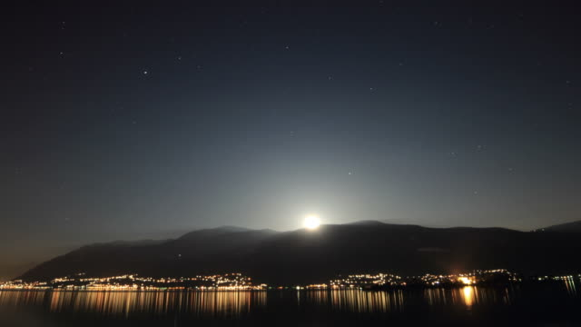 Time lapse, mountain lake at night