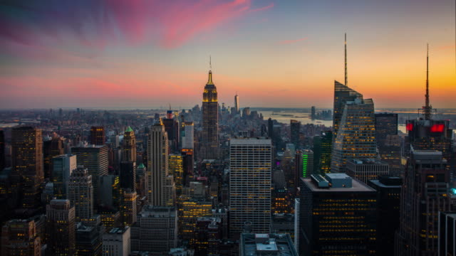 Time-lapse: New York City Skyline van dag naar nacht
