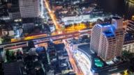 Time Lapse - Night Traffic in Bangkok (Zoom In)