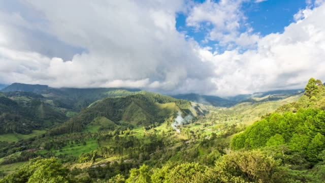 COLOMBIA - CIRCA 2013: Time lapse of a Combian green landscape in a cloudy and sunny day in Salento