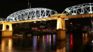 A time lapse of a riverboat turning on the Cumberland river in downtown Nashville, Tennessee.