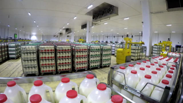 Time lapse of a warehouse in a milk factory with robotic machines speeding around