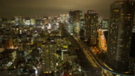 Time lapse of aerial view of Tokyo at night
