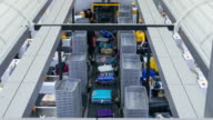 Time Lapse of Baggage moving in conveyer belt, airport counter