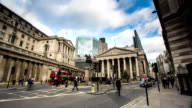 LONDON - CIRCA 2013: Time Lapse of Bank of England during the day with traffic in London, UK