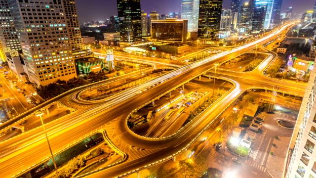 Zeitraffer von Peking, Central Business District skyline bei Nacht