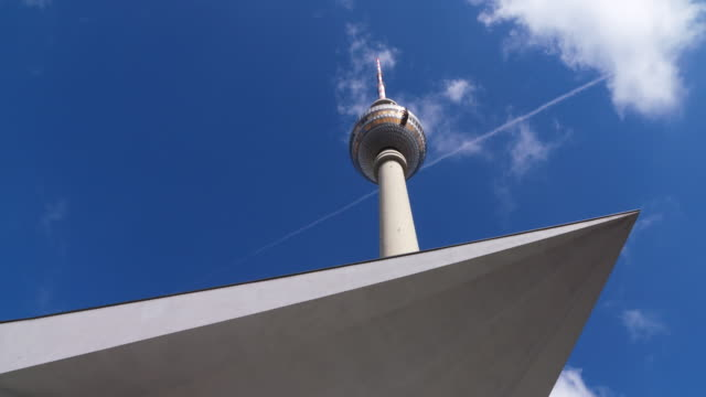 Time Lapse of Berlin Fernsehturm (TV tower) with moving clouds. Berlin, Germany.