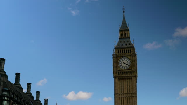 Time lapse of Big Ben zooming out to Parliament Square.