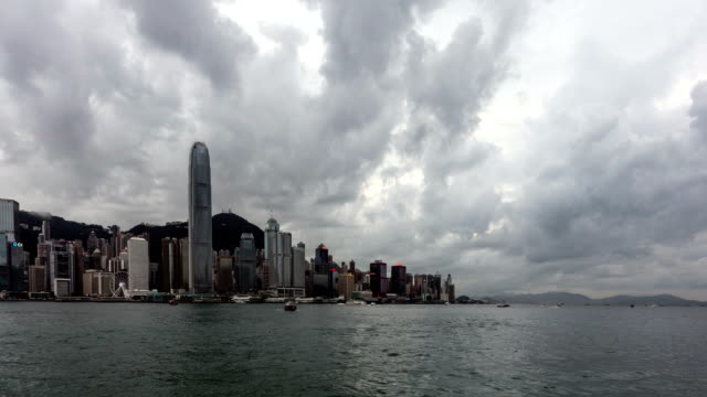 Time lapse of boat crossing the Victoria harbor in Hong Kong