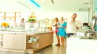 Time lapse of Buffet Line Breakfast in Hotel Restaurant