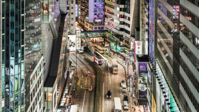 time lapse of busy road in hong kong island with trams passing through