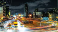 Time lapse of car traffic on the Ed Koch Queensboro 59th Street Bridge during evening rush hour / Midtown Manhattan New York City USA