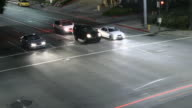 Time lapse of cars stopping at intersection