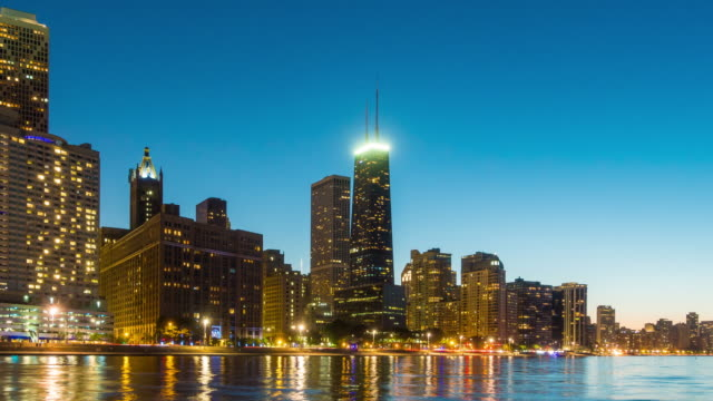 Time lapse of Chicago skyline at twilight