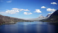 Time Lapse of Clouds Moving over Beautiful Blue Lake Surrounded by Mountains