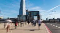 LONDON: Time Lapse of commuter on London Bridge