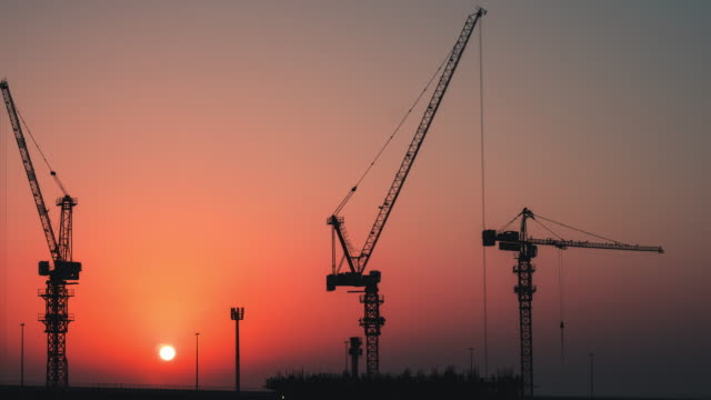 Time Lapse of Construction Site at Sunset
