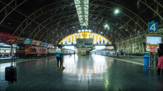 Time Lapse of Crowd at Bangkok Railway Station Platform