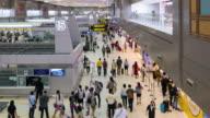 Time Lapse of Crowd walking at Airport terminal