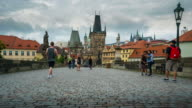 Time Lapse of Crowd walking at Charles Bridge, Prague