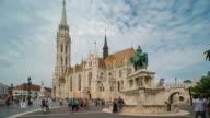 Time Lapse of Crowd walking at Matthias church, Budapest