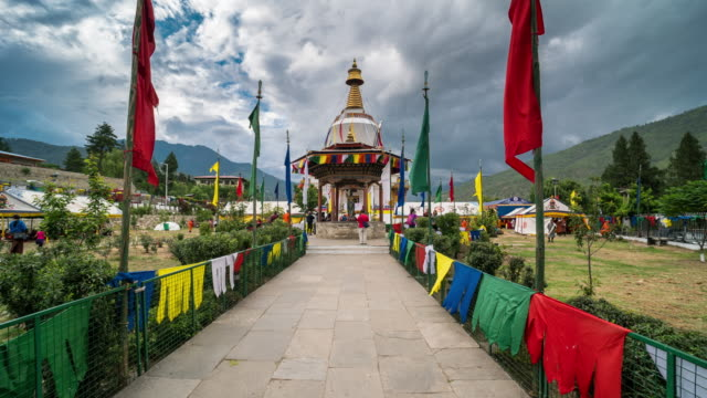 Time Lapse of crowd walking, Tashi Yangtse Stupa, Thimphu, Bhutan