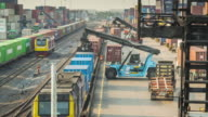 Time lapse of Freight train with cargo containers