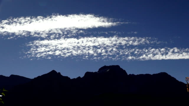 Time lapse of high cirrus clouds over mountain peaks.