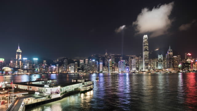 time lapse of hong kong island skyline and financial district