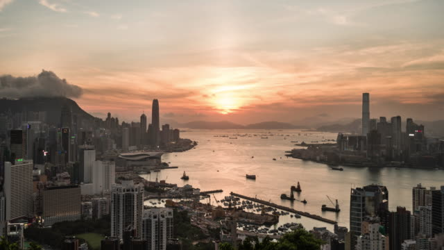 time lapse of Hong Kong Island's financial district and victoria bay