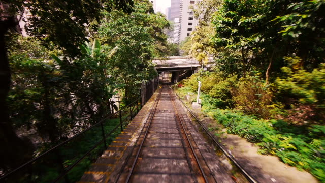 Time Lapse of Hong Kong Peak Tram Funicular - POV shot all the way to top