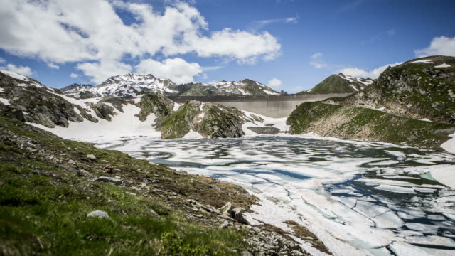 Time lapse of ice melting in mountain lake