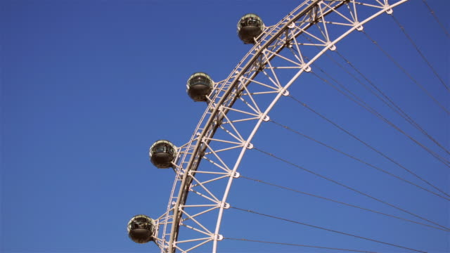 Time lapse of London Eye spinning against blue sky / London, England