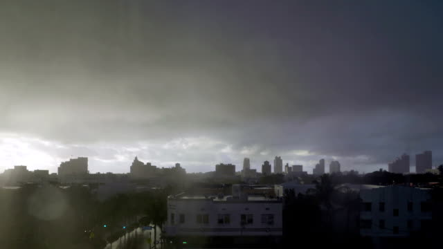 Time lapse  of midday tropical downpour over Miami Beach