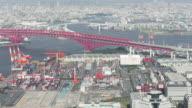 Time lapse of Minato bridge and industrail area Osaka Japan