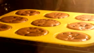 Time lapse of muffins rising in the oven