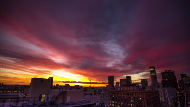 Time Lapse of Multicolored Sunset in Downtown Los Angeles Historic Core