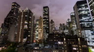 NEW YORK - CIRCA 2014: Time Lapse of New York Skyscraper during the night from a roof top