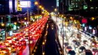 Time lapse of Night scene traffic in Bangkok
