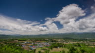 Time Lapse of Pai viewpoint and blue sky with cloudy movement , Pai Thailand